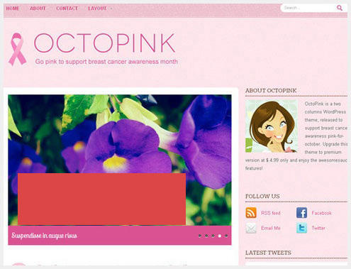 【博客主题】粉色系女性wp主题Octopink