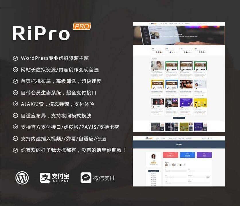 ripro8.7日主题破解版 WordPress主题虚拟资源分享下载主题